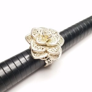 Jewelry - Silver Tone Metal Filigree Rose Flower Ring Size 8